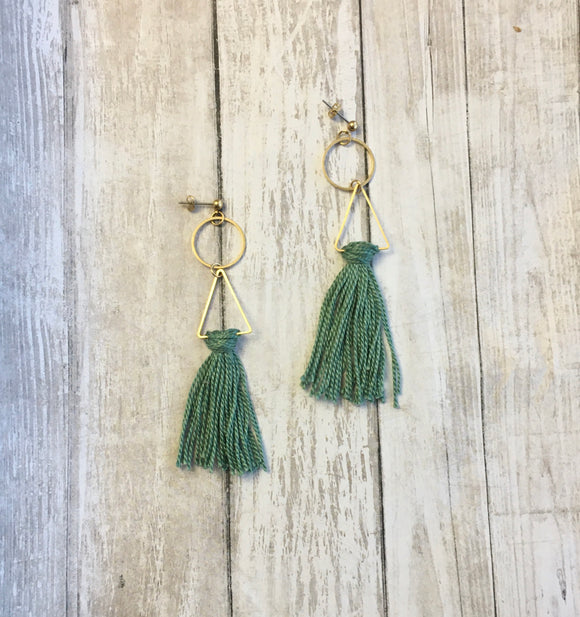 The Triptych Earrings in Teal