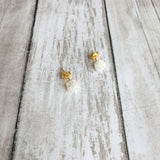 The Rough Cut Druzy Bits Stud Earrings in white