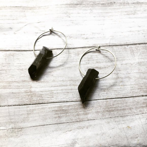 The Darkness Earrings with silver hoops