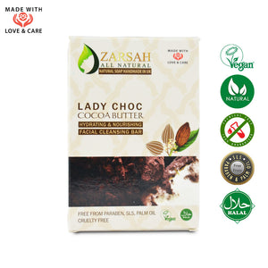Lady Choc Cocoa Butter Hydrating and Nourishing Facial Cleansing Bar
