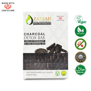 Charcoal Detox Bar Zing of Rosemary and Lime Essential Oil