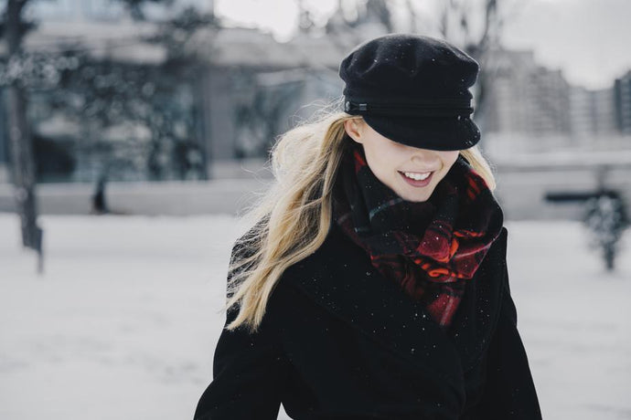 woman wearing black wool winter jacket