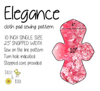 Elegance Cloth Pad Sewing Pattern - 10 Inch - 2.5 inch snapped width - Daisy & Bird