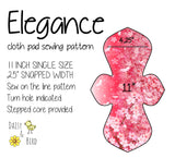 Elegance Cloth Pad Sewing Pattern - 11 Inch - 2.5 inch snapped width - Daisy & Bird