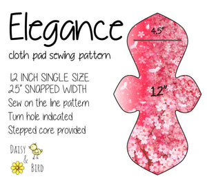 Elegance Cloth Pad Sewing Pattern - 12 Inch - 2.5 inch snapped width - Daisy & Bird