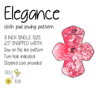 Elegance Cloth Pad Sewing Pattern - 8 Inch - 2.5 inch snapped width - Daisy & Bird