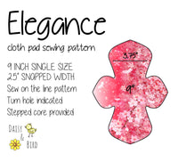 Elegance Cloth Pad Sewing Pattern - 9 Inch - 2.5 inch snapped width - Daisy & Bird