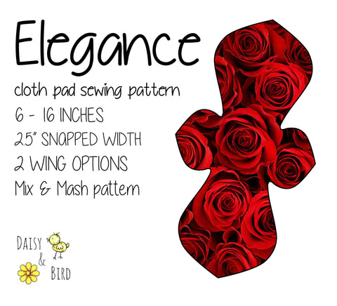 Elegance Cloth Pad Sewing Pattern - Full Bundle 2.5 inch snapped width - Daisy & Bird
