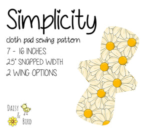 "Simplicity Cloth Pad Pattern - Full Bundle - 2.5"" Snapped Width - Daisy & Bird"
