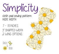 "Simplicity Cloth Pad Pattern - Full Bundle - 3"" Snapped Width - Daisy & Bird"