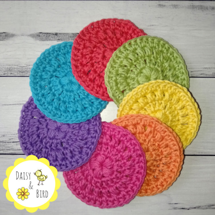 Crochet Face Scrubbies x 7 - Rainbow - Daisy & Bird