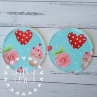 Pair of Breast Pads - Cup Cakes & Hearts - Daisy & Bird