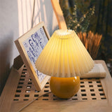 Retro Yellow Shiny Finish Ceramic Glazed Pleated Table Lamp