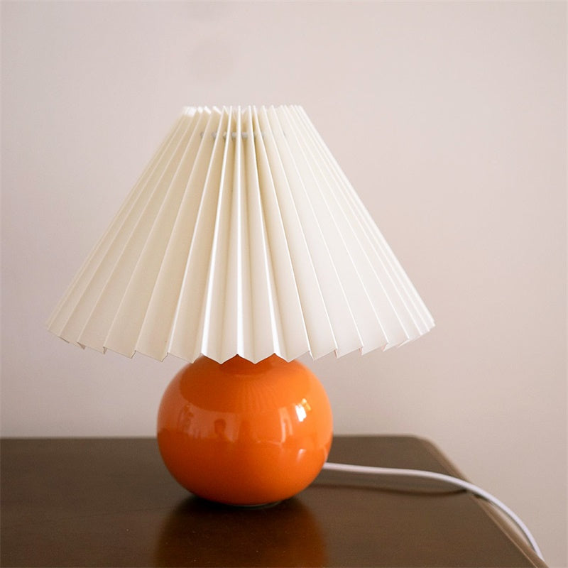 Shiny Finish Ceramic Pleated Lamp