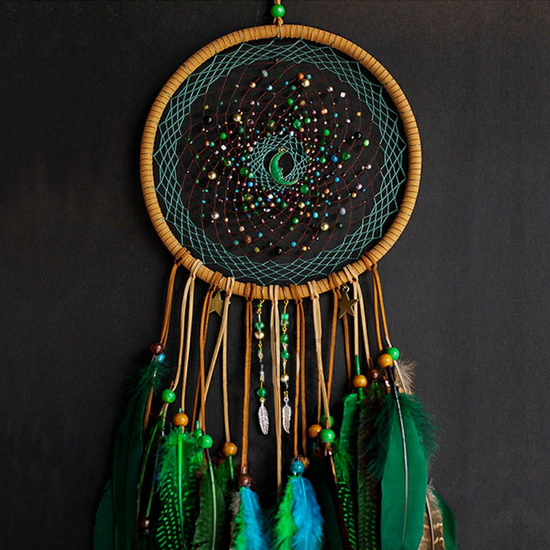 Crystal Moon Peacock Dream Catcher