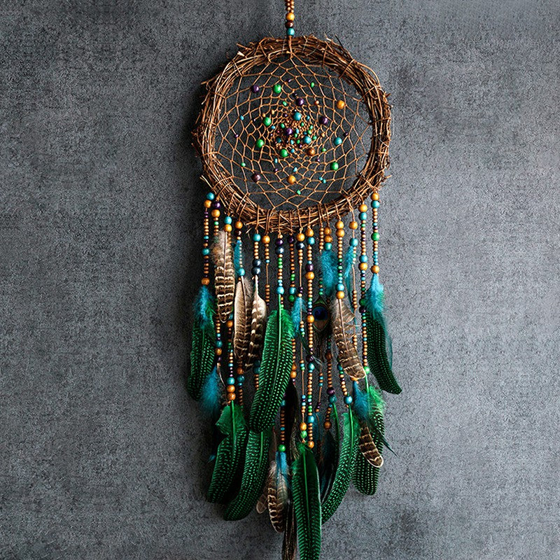Handmade Peacock Dream Catcher