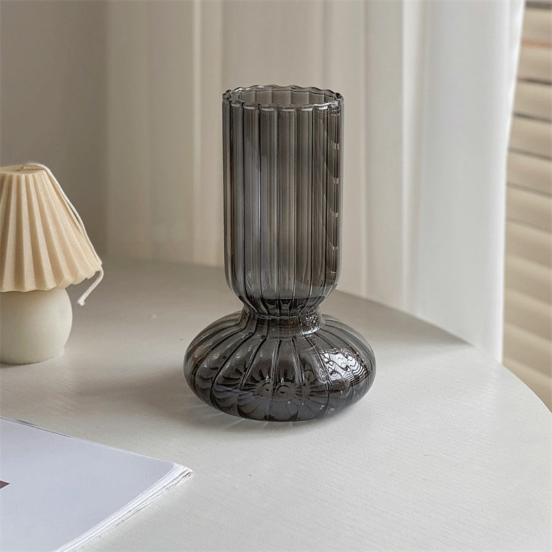 Ribbed Tall Glass Vase