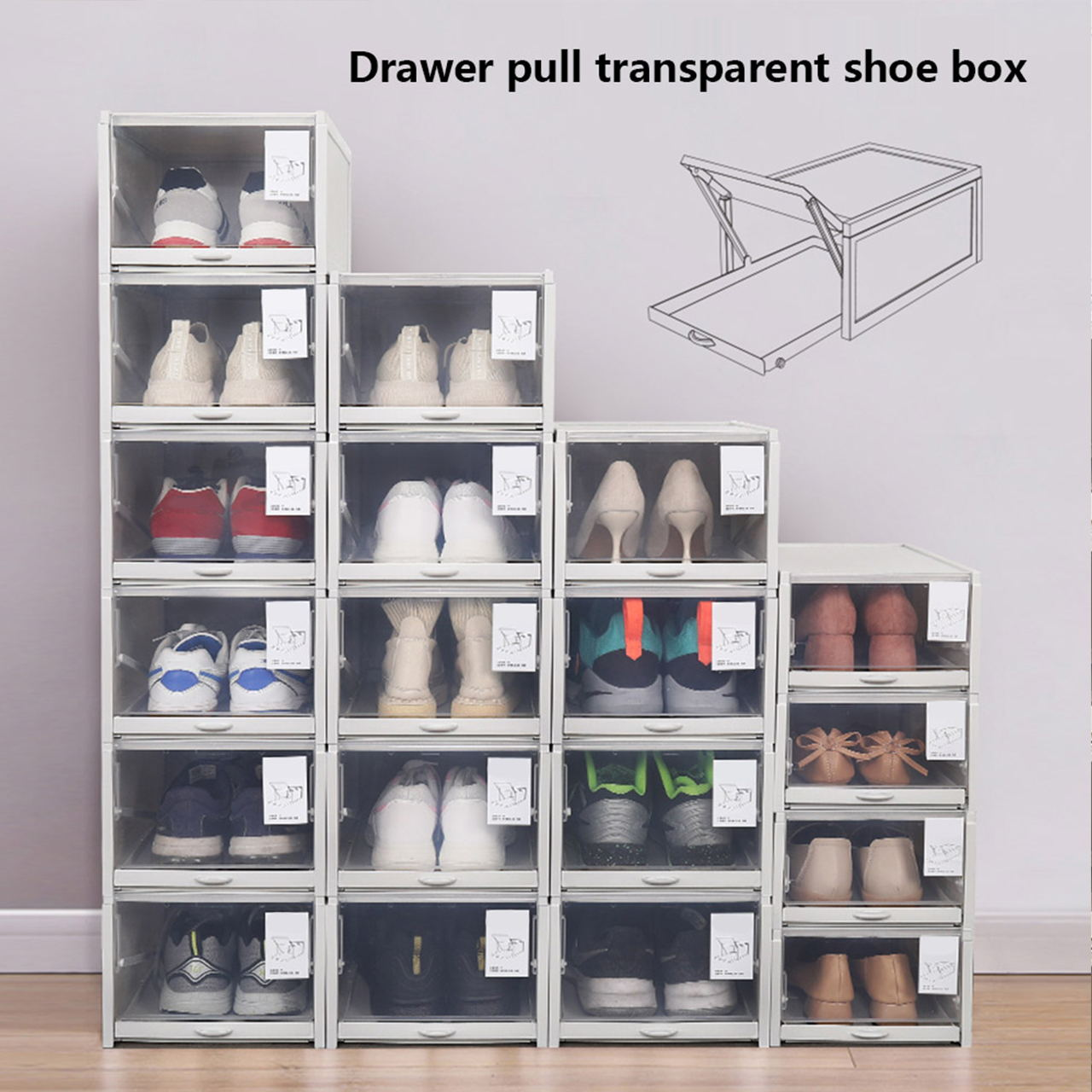 Stackable Shoe Drawer Organizer Box