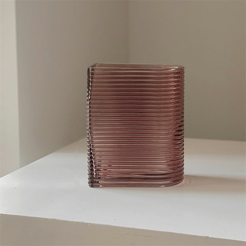 Retro Brown Chic Ribbed Glass Vase