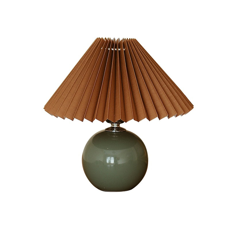 Retro Dark Green Ceramic Base Coffee Pleated Lampshade Table Lamp