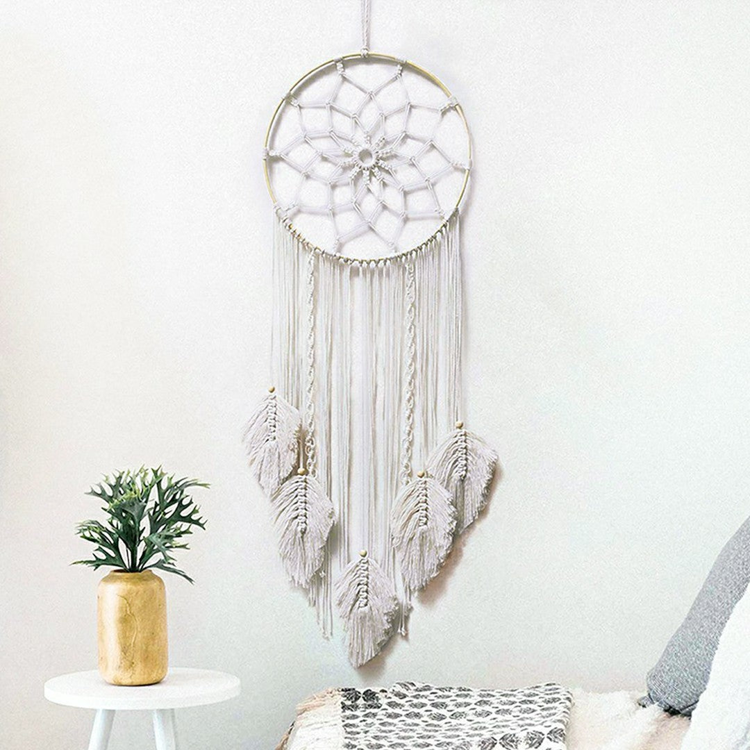 Handemade Boho Petal Dream Catcher White