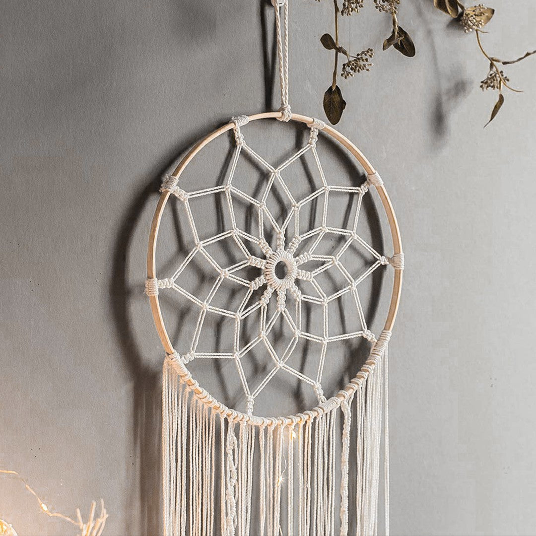 Handemade Boho Petal Dream Catcher Beige