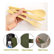 Load image into Gallery viewer, Portable Eco Friendly Bamboo Cutlery Set