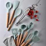 10pcs Premium Silicone Cooking Utensils Set with Beautiful Holder