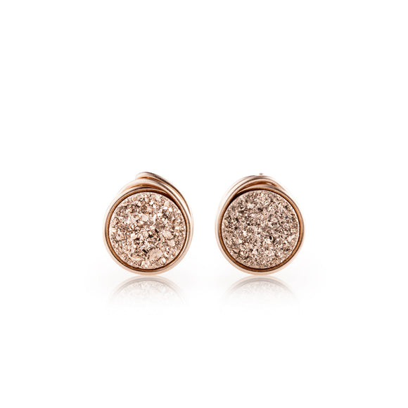 Gilded Rose Gold Druzy Studs