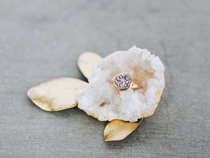 Hexagon Druzy Ring - Platinum