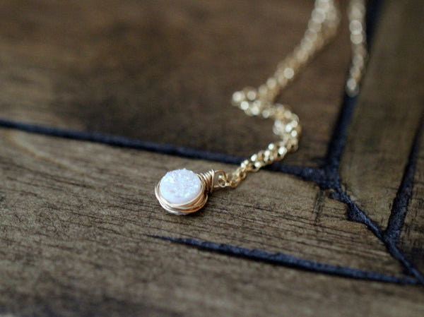 Baby Bezel Pendant Necklace - Confetti Cream