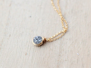 Baby Bezel Pendant Necklace - Platinum