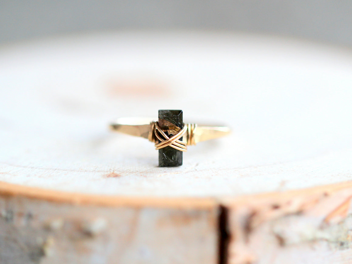 Baguette Gem Ring - Black Copper Turquoise