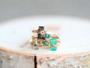 Baguette Gem Ring - Green Onyx