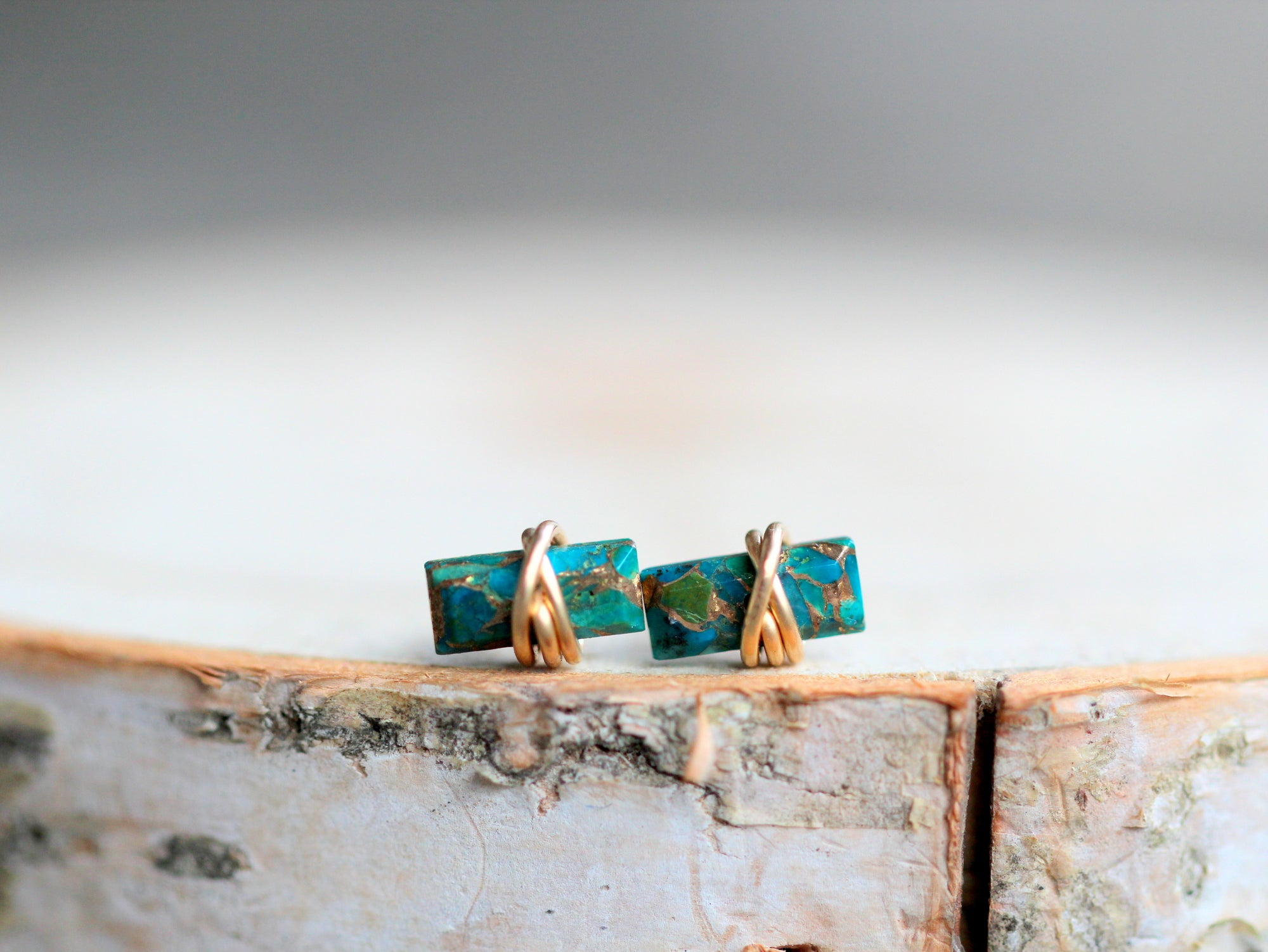 Baguette Studs - Copper Turquoise