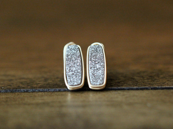 Druzy Bar Studs - Platinum