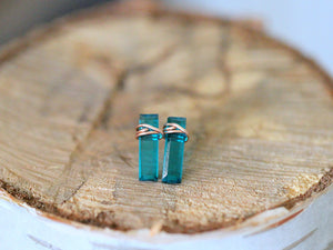 Teal Quartz Bar Studs