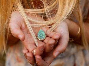 Druzy XL Teardrop Necklace - Buttermint