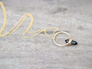 Crest Necklace - Obsidian