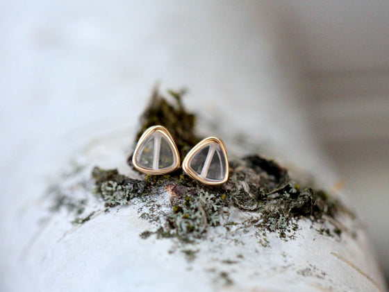 Petite Triangle Studs - Crystal Quartz