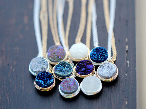 Druzy Bezel Pendant Necklaces New Colors Saressa