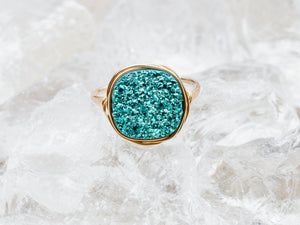 Druzy Cushion Cut Cocktail Ring - Teal