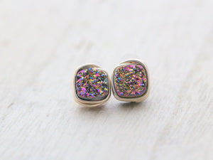 Druzy Cushion Cut Studs - Unicorn