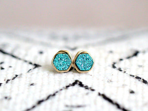 Hexagon Druzy Studs - Teal