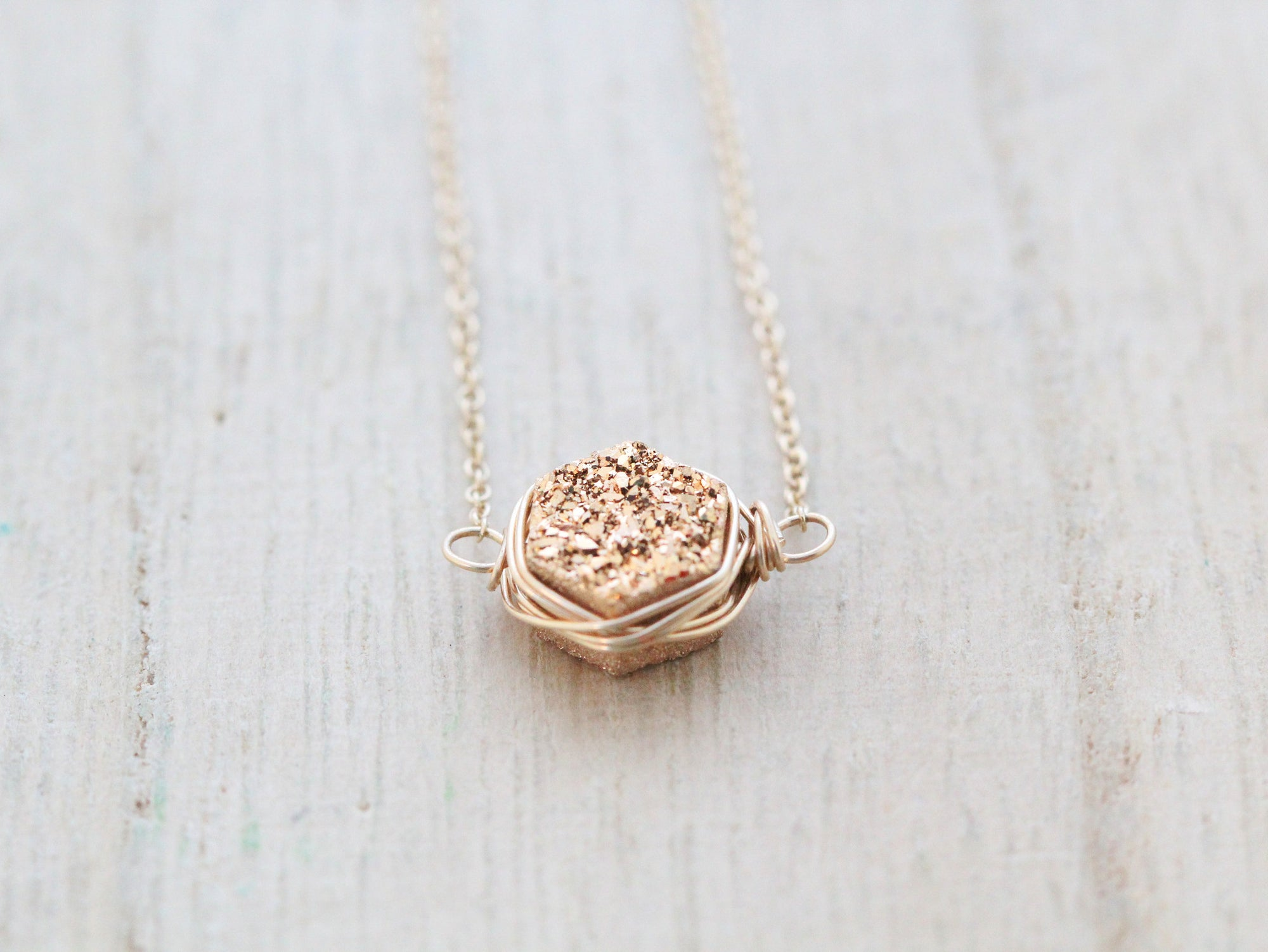 Gilded Hexagon Druzy Necklace