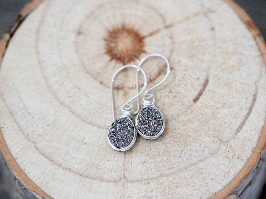 Druzy Oval Drops - Platinum