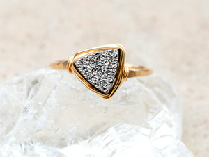Druzy Triangle Ring - Platinum
