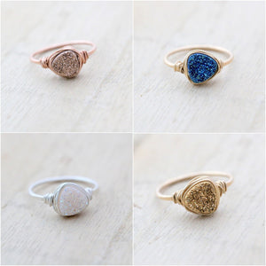 Druzy Triangle Rings