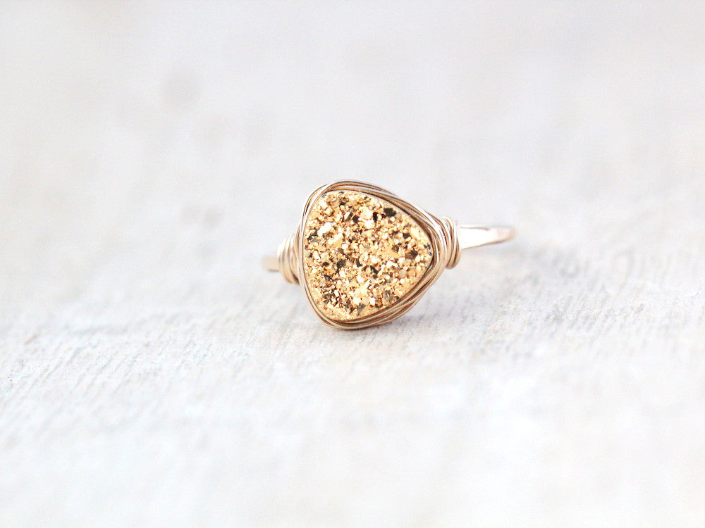 Druzy Triangle Ring - Gilded Gold