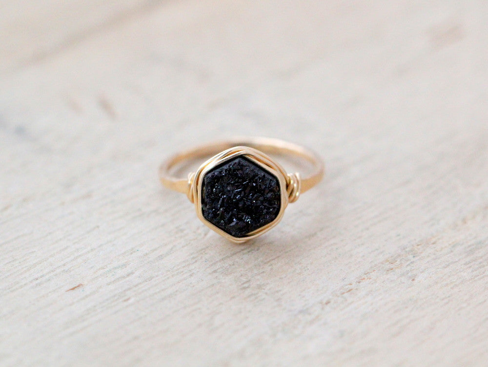 Hexagon Druzy Ring - Eclipse